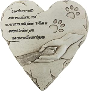 Heart Shaped Pet Memorial Stone Grave Marker for Dog or Cat, Pet Dog Garden Stone for Outdoor Backyard Patio or Lawn,Syampathy Pet Dog Loss Gifts (Paw Print Stone),9.6