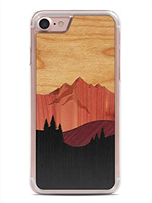 iPhone 7 Mount Bierstadt Inlay Wood Clear Case by Carved, Unique Real Wooden Phone Cover (Clear, Fits Apple iPhone 7)