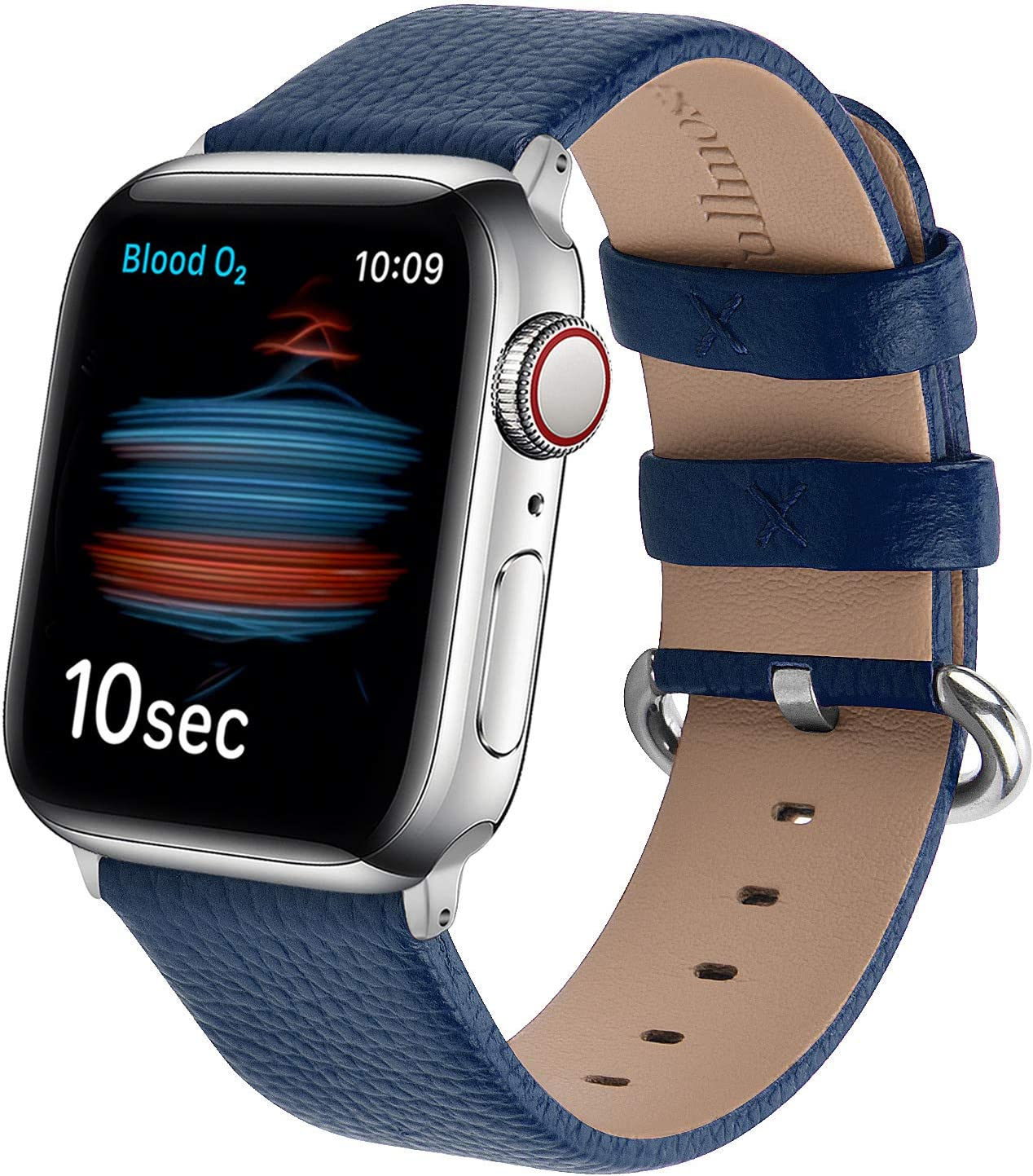 Fullmosa Watchbands Compatible for Apple Watch Band Series 6 SE Series 5 Series 4 Series 3 Series 2 Series 1, iWatch Strap Compatible with Apple Watch Blue Leather Band 38mm 40mm 42mm 44mm, Dark Blue