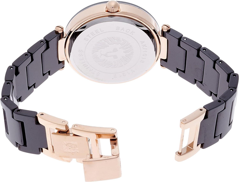 Anne Klein Women's Genuine Diamond-Accented Ceramic Bracelet Watch Black/Rose Gold