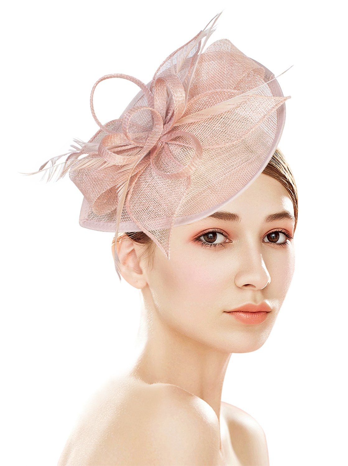 Z&X Sinamay Fascinator Pillbox Hat Headband Hair Clip Wedding Party Pink