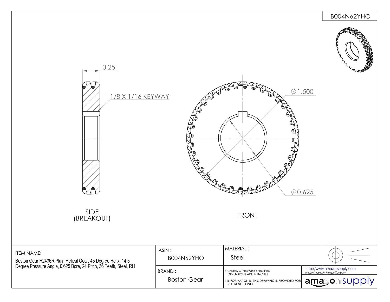 24 Pitch 36 Teeth 45 Degree Helix 0.625 Bore 14.5 Degree Pressure Angle RH Boston Gear H2436R Plain Helical Gear Steel
