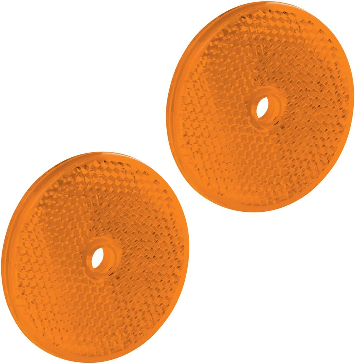 Bargman 74-71-175 Class A 2-3//16 Round Amber Reflector with Center Mounting Hole 2 Pack