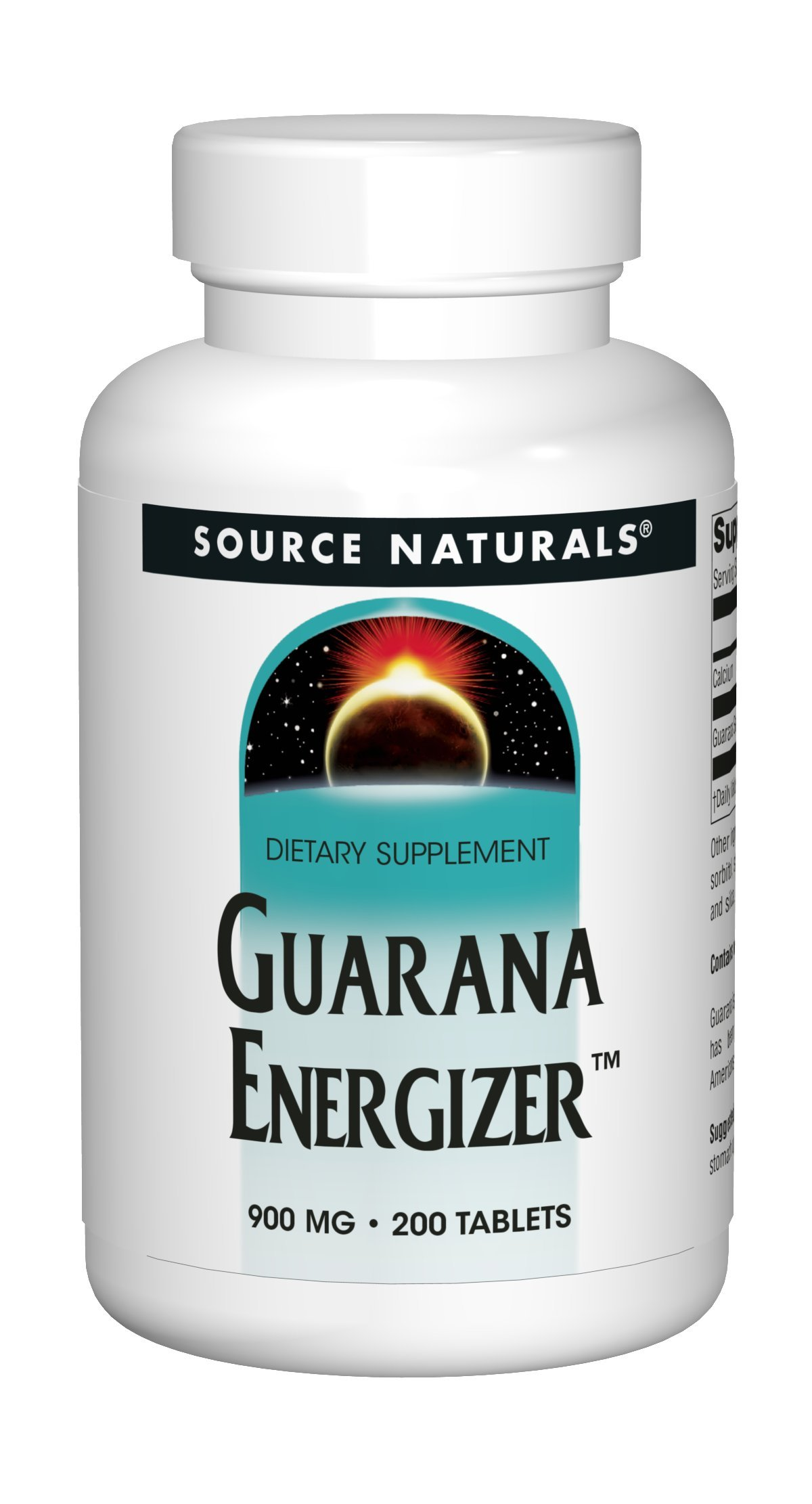 Source Naturals Guarana Energizer 900mg Pure Brazilian Herbal Caffeine Supplement - Natural, Slow Release Of Steady Energy - With Calcium - 200 Tablets