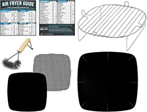 Air Fryer Accessories Compatible with Kuppet, NuWave Brio, Bagotte, Costzon, Dash, Philips XL, Cosori +More | Stainless Steel Airfryer Rack, Magnetic Cheat Sheet Guide for Cooking & Baking | Small