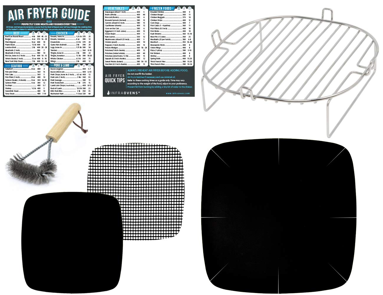 Air Fryer Accessories Compatible with Kuppet, NuWave Brio 3 QT, Bagotte, Costzon, Dash 10 Liter, Philips XL +More | Stainless Steel Rack, Magnetic Cheat Sheet Guide for Cooking & Baking | Small