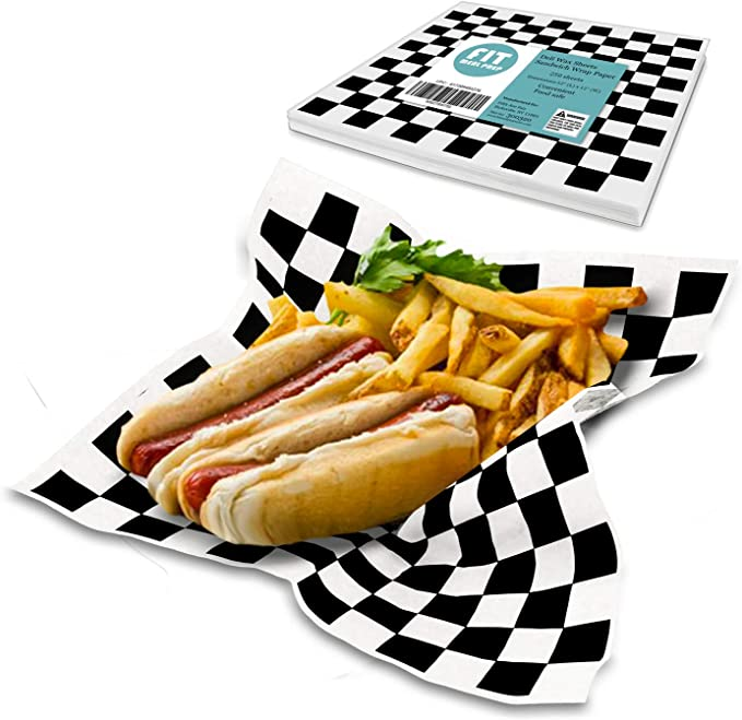 2000 X RED Gingham Duplex Grease Proof Paper Food Wrap Sheets Chip Basket Liner