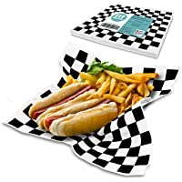 [250 Sheets] 12x12 Inch Deli Sheets Sandwich Wrap Paper - Black and White Checkered Food Basket Liners, Grease Resistant…