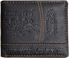Gubintu Mens Black Leather Trifold Wallet