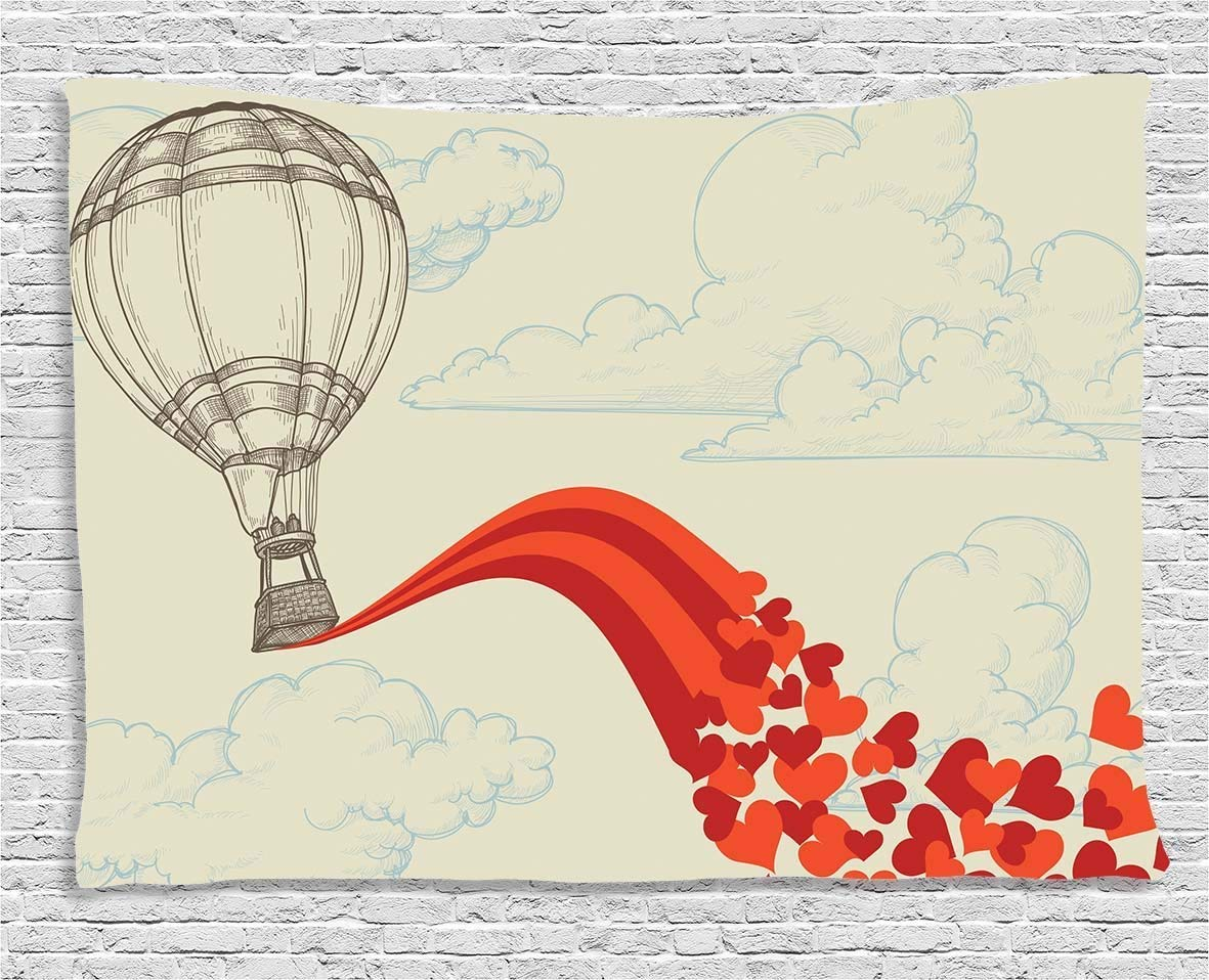 THndjsh Vintage Decor Tapestry, Hot Air Balloon in the Clouds Air with Hearts Nostalgic Love Romantic Voyage, Wall Hanging for Bedroom Living Room Dorm, 60WX40L Inches, Beige Red