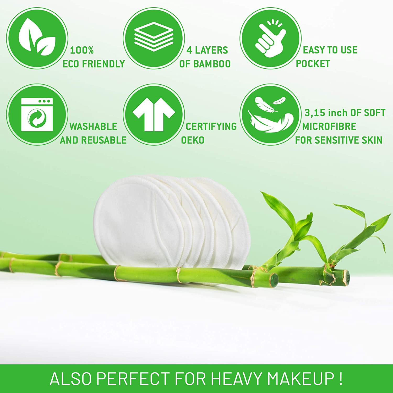 Washable cleaning pads with pocket Cleaning cloths for planets and zero facial waste with bamboo box Reusable cotton pads 21 bamboo units to remove makeup