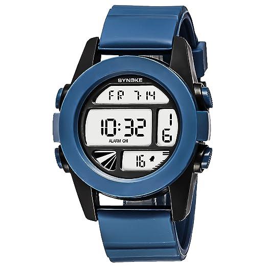 Relojes para Hombres de Diseño Marcas Relojes Deportivos para Hombres Números Grandes con Calendario Azul: Amazon.es: Relojes