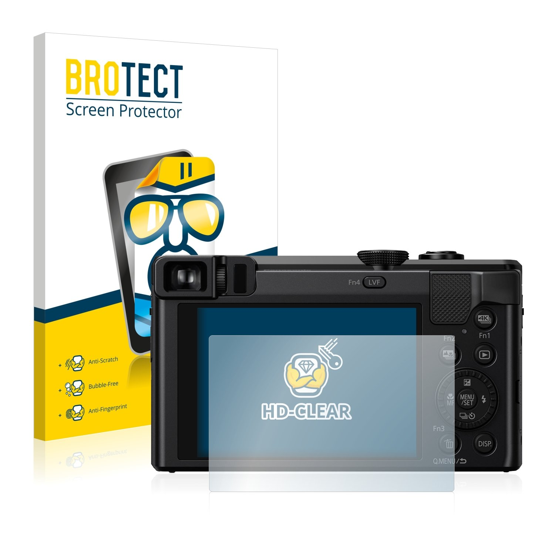 BROTECT Protector de Pantalla para Panasonic Lumix DMC-TZ80 - HD-Transparente 2 Unidades Anti-Huellas Anti-Burbujas