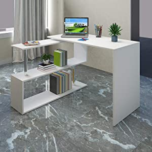 Minimalist Household Rotating L-Shaped Computer Desk,Desktop Modern Creative Study Workstation,Economic Multifunction Laptop Table for Home&Office Use (White)