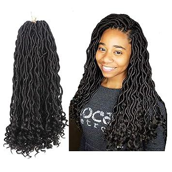 Amazoncom 6pcslot Goddess Faux Locs Crochet Hair Wavy Faux Locs