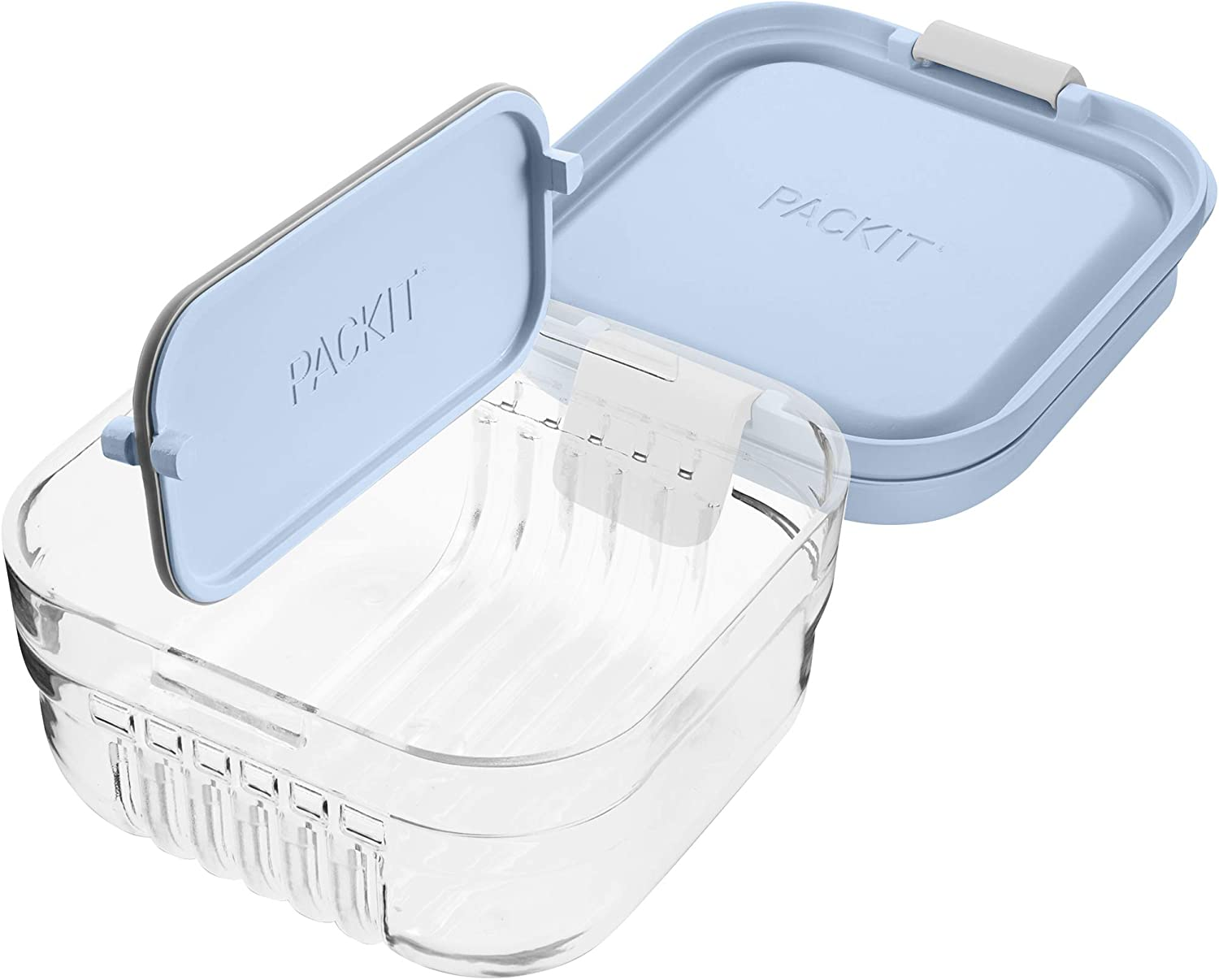 PackIt Mod Snack Bento Food Storage Container, Ice Blue