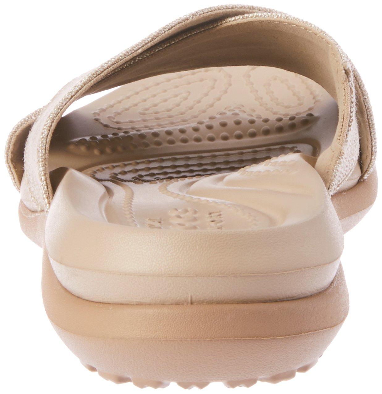 Crocs Women's Capri Shimmer Cross-Band Sandal B072JN5RMK 6 M US|Oyster/Cobblestone