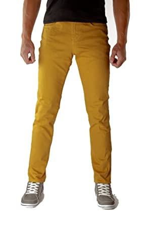 Made in USA Mustard Yellow Skinny Jeans for Men. Cotton/spandex ...