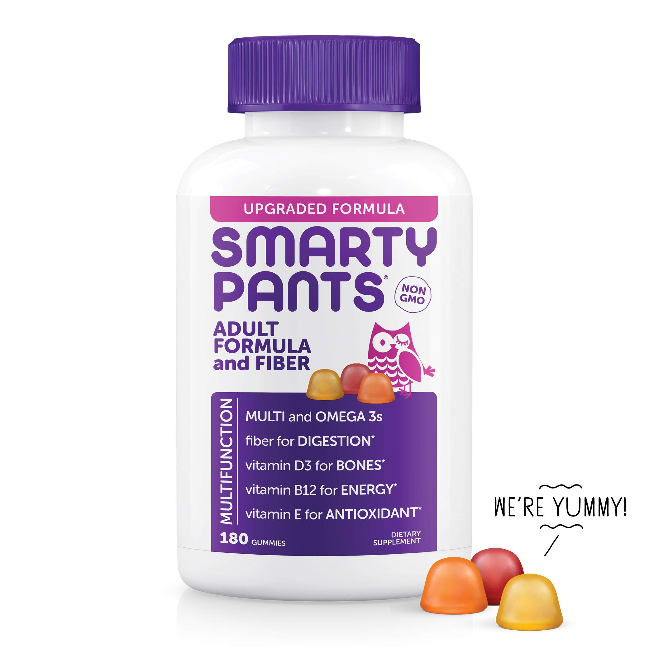 SmartyPants Adult Formula&Fiber Daily Gummy Vitamins:Multivitamin, Inulin Prebiotic Fober,Omega 3(DHA/EPA)Fish Oil,Folate(Methylfolate,Methyl B12,Vitamin D3,180 Count(30 Day Supply)-Packaging May Vary