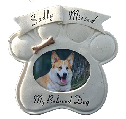 Memorial Sadly Missed Dog Paw Weatherproof Picture Frame