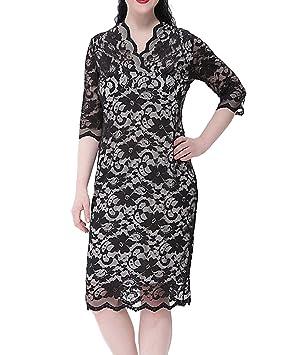 Moollyfox Mujer Tallas Grandes Vestido Corto de Encaje Cuello en V Bodycon Midi Vestido Beige 4XL