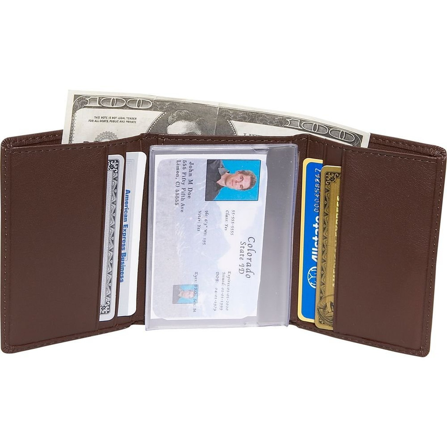 Black EMPORIUM LEATHER DBA Royce Leather Royce Leather Mens Credit Card Trifold Wallet in Leather 103-BLACK-5