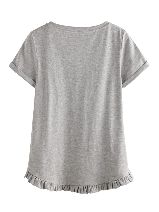 600cffc7 Amazon.com: SheIn Women's Casual Loose Ruffled Hem T-Shirt Tee: Clothing