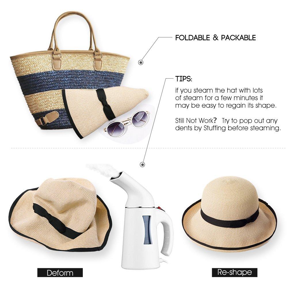 Cappello da Sole da Donna UPF 50 Estivo Pieghevole in Paglia a Tesa Larga Regolabile Comhats