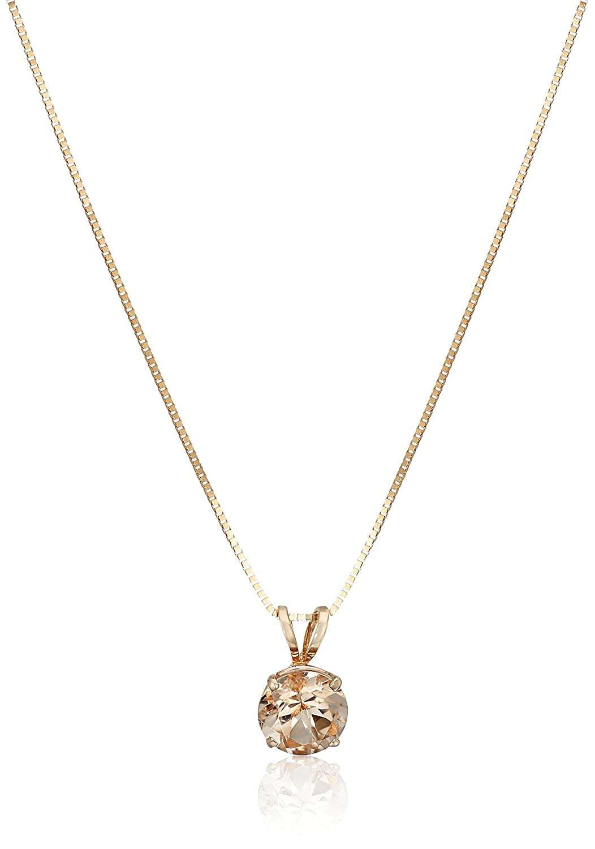 "14k Rose Gold Round Morganite Solitaire Pendant Necklace, 18"""