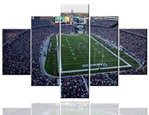 Art Work for Home Walls Gillette Stadium Pictures Foxborough, MA,USA Paintings 5 PCS/Multi Panel Canvas Artwork Home Decor for Living Room Framed Framed Ready to Hang Posters and Prints(60''Wx40''H)