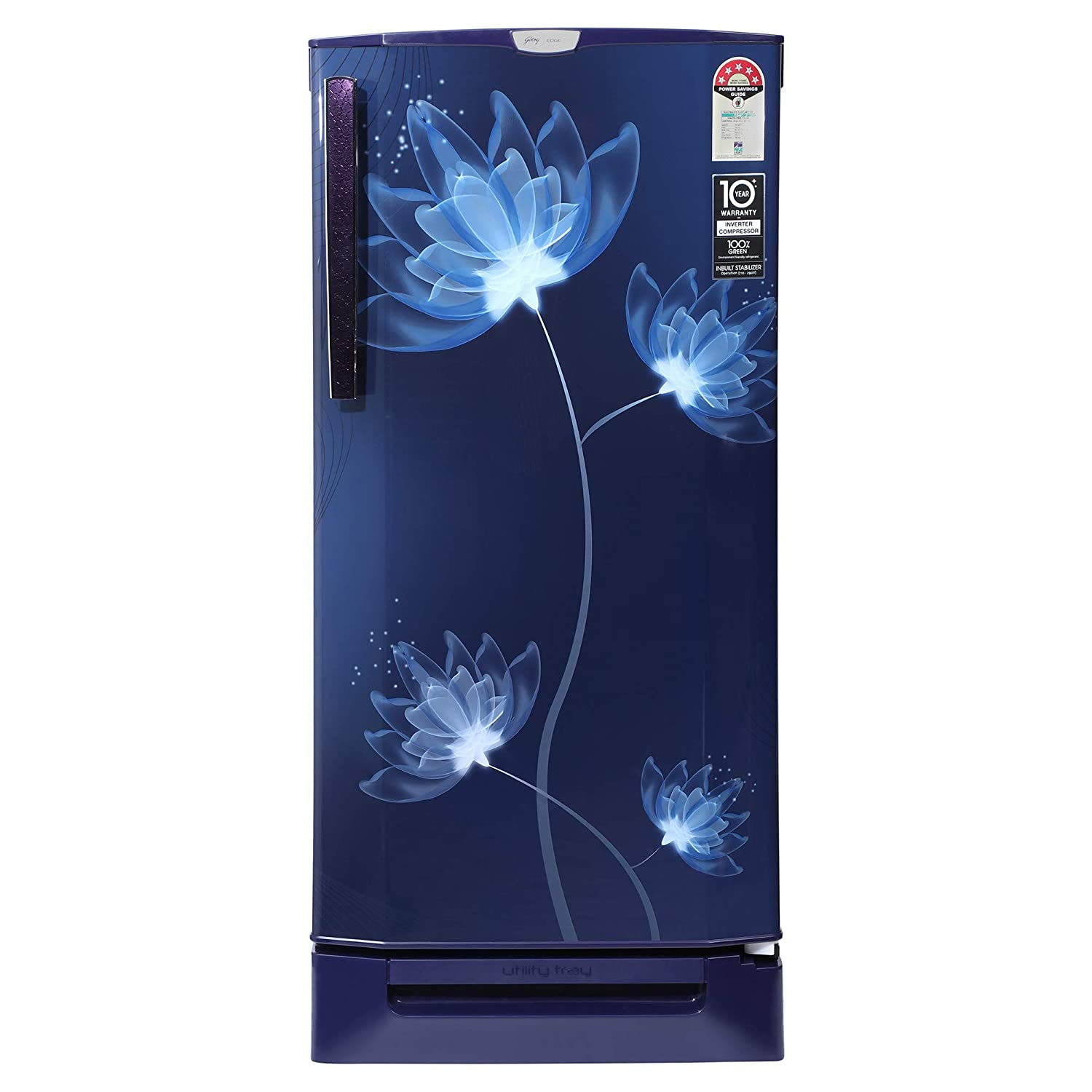 Godrej 190 L 5 Star Inverter Direct-Cool Single Door Refrigerator (RD 1905 PTDI 53 GL BL, Glass Blue, Base stand with drawer, Inverter Compressor)