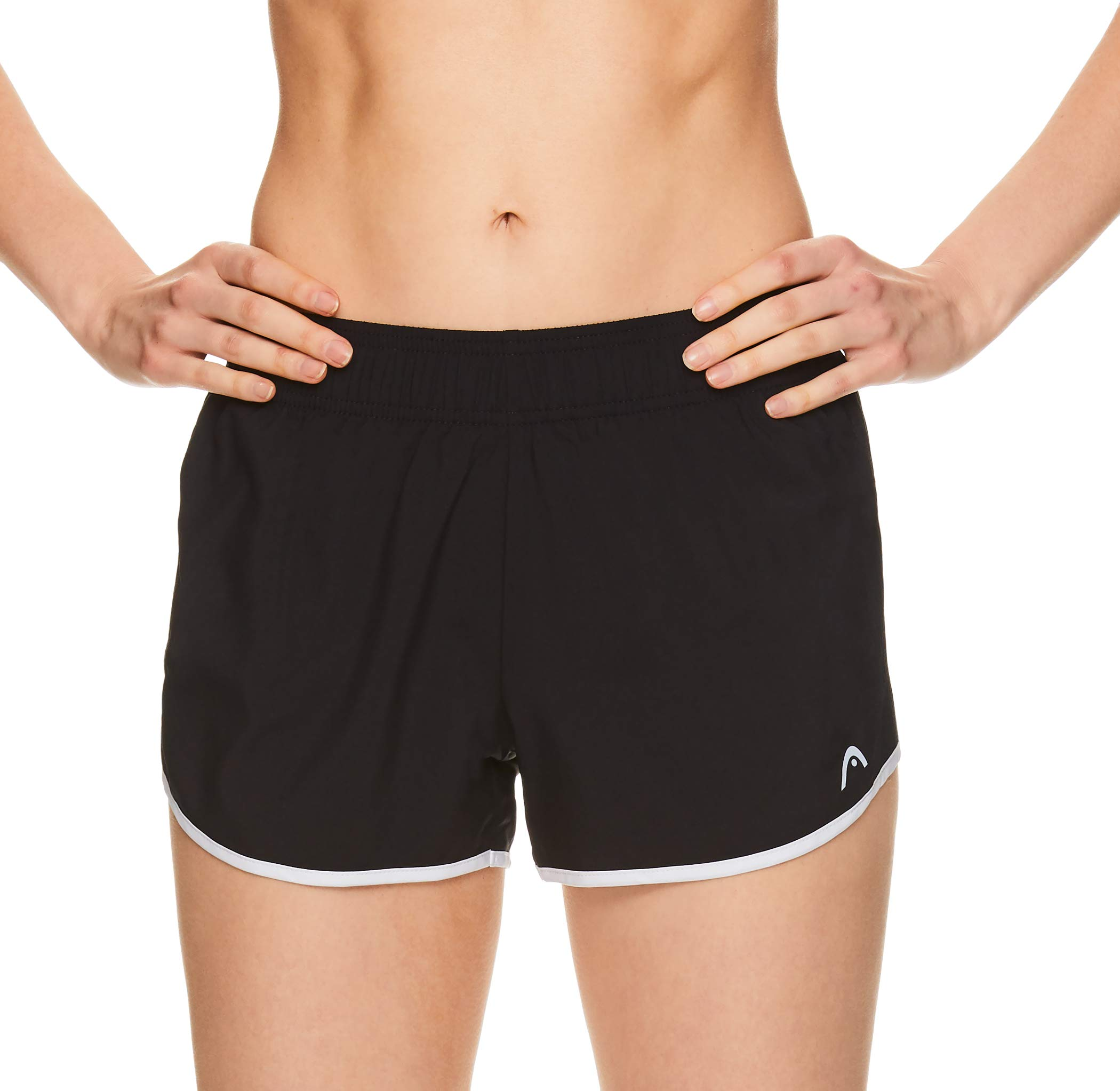 HEAD Women's Athletic Workout Shorts - Polyester Gym Training & Running Short - Ally Black, X-Small