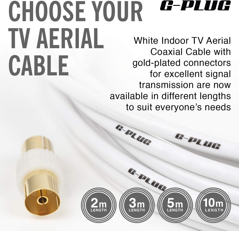 Cable Antena TV 2m con Adaptador de Enchufe – Cable Coaxial Satélite – Cable Antena TV, Cable Antena AV Macho a Macho, Extensión Coaxial, Conector RF, ...