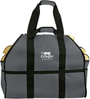Cougar Outdoor - The Ultimate Log Carrier - 2 Handles, Heavy Duty, Standing, Waterproof, Lined Firewood Tote Bag - Perfect For Carrying Wood, Camping, & Bonfires (Grey)