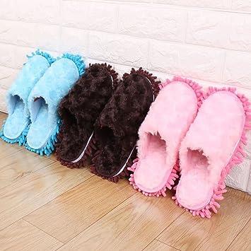 Microfibra fregona zapatillas con chenilla, limpieza open-slippers con para colgar toallas de mano, 3 Set incluye Chenille Limpieza Zapatillas, ...