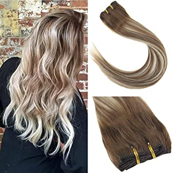 Sunny 16inch 7pcs Human Hair Extensions Clip in Balayage Medium Brown to  Platinum Blonde Highlights