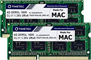 Timetec Hynix IC 8GB KIT(2x4GB) Compatible for Apple DDR3L 1600MHz for MacBook Pro (Early/Late 2011,Mid 2012), iMac(Mid 2011,Late 2012,Early/Late 2013,Late 2014,Mid 2015), Mac Mini(Mid 2011,Late 2012)