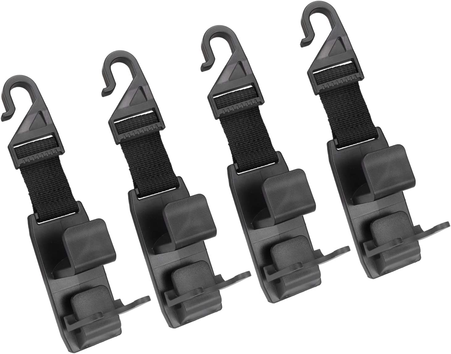 LivTee Black Car Back Seat Headrest Hooks, Car Seat Organizer Accessory for Coats Umbrellas Grocery Bags Handbag & Bottle Holder(4pcs)