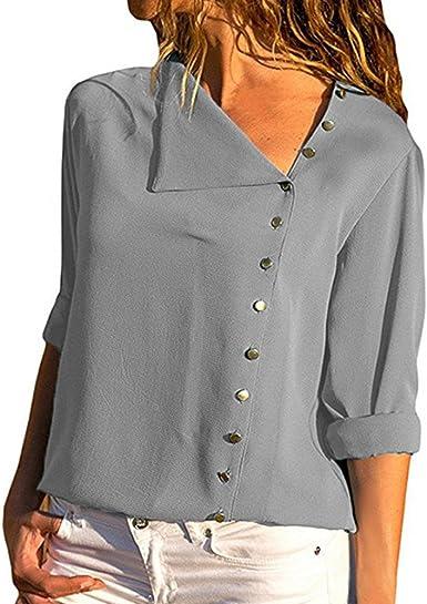 Camisa Mujer, Tops Manga Larga Camiseta Escote Irregular ...