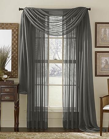 Amazon.com: HLC.ME Charcoal Grey Sheer Window Scarf - Valance ...