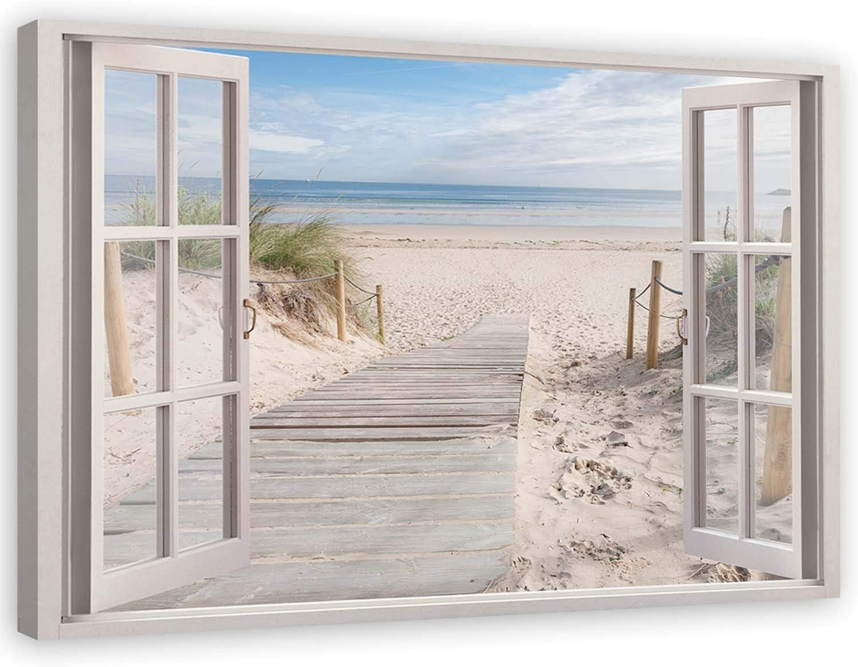 Feeby Cuadro de Pared XXL Playa Impresión Lienzo 3D Ventana Beige 120x80 cm