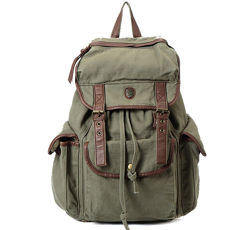 Catata Women Men Multipurpose Backpack Vintage Fabric Cotton Leather Rucksack Casual Bookbag (Army Green)