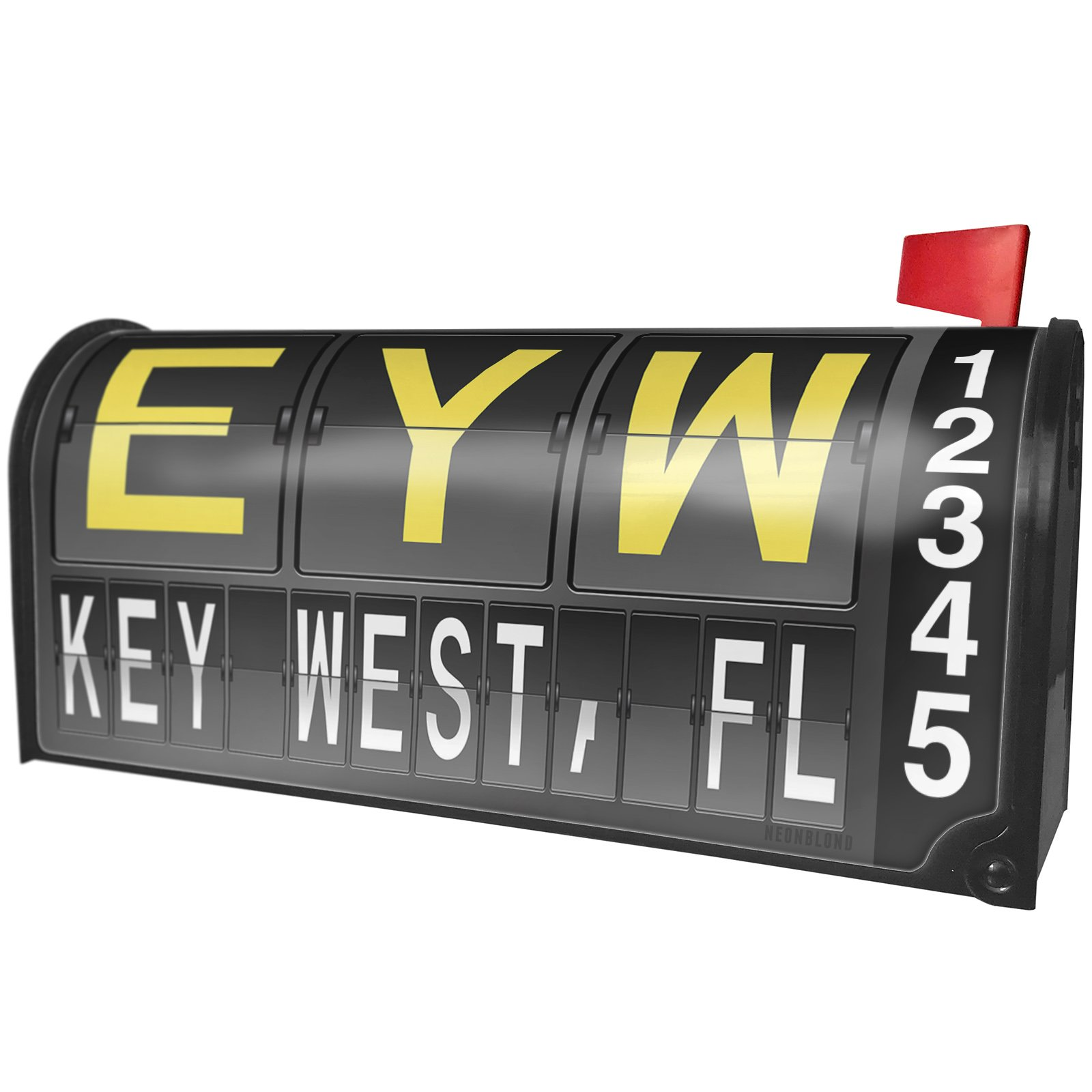NEONBLOND EYW Airport Code for Key West, FL Magnetic Mailbox Cover Custom Numbers