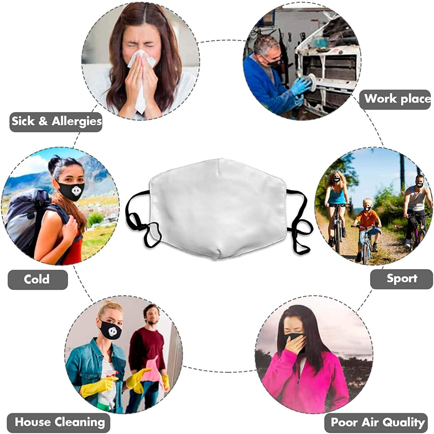 Oiguio Africa Animal 3D Printed Anti Pollution Dust with Adjustable Earloop Cover for Women Men
