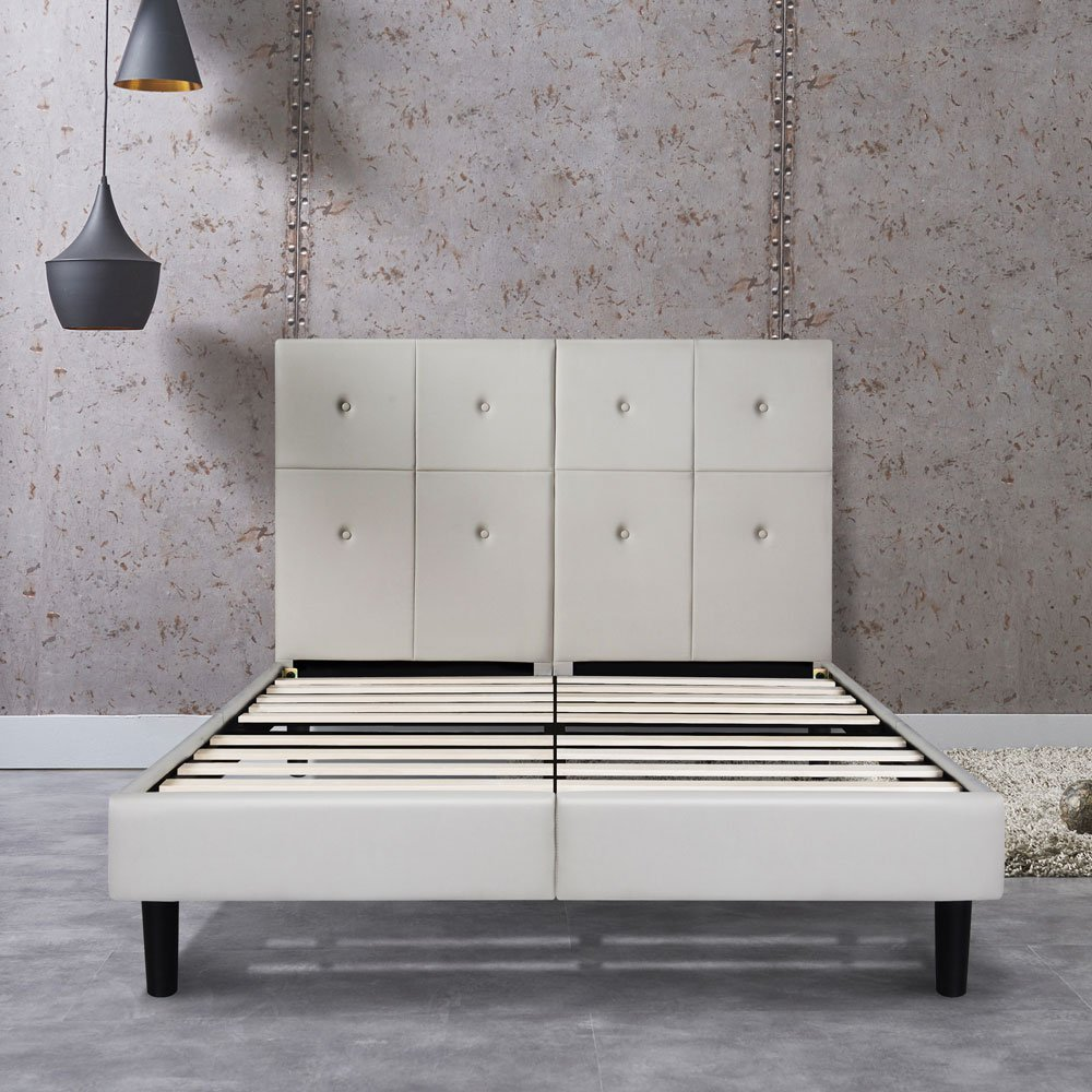 8bcf7b41114a ... Queen Light Grey Home. Primasleep 14 Inch Dura Metal Faux Leather Wood  Bed
