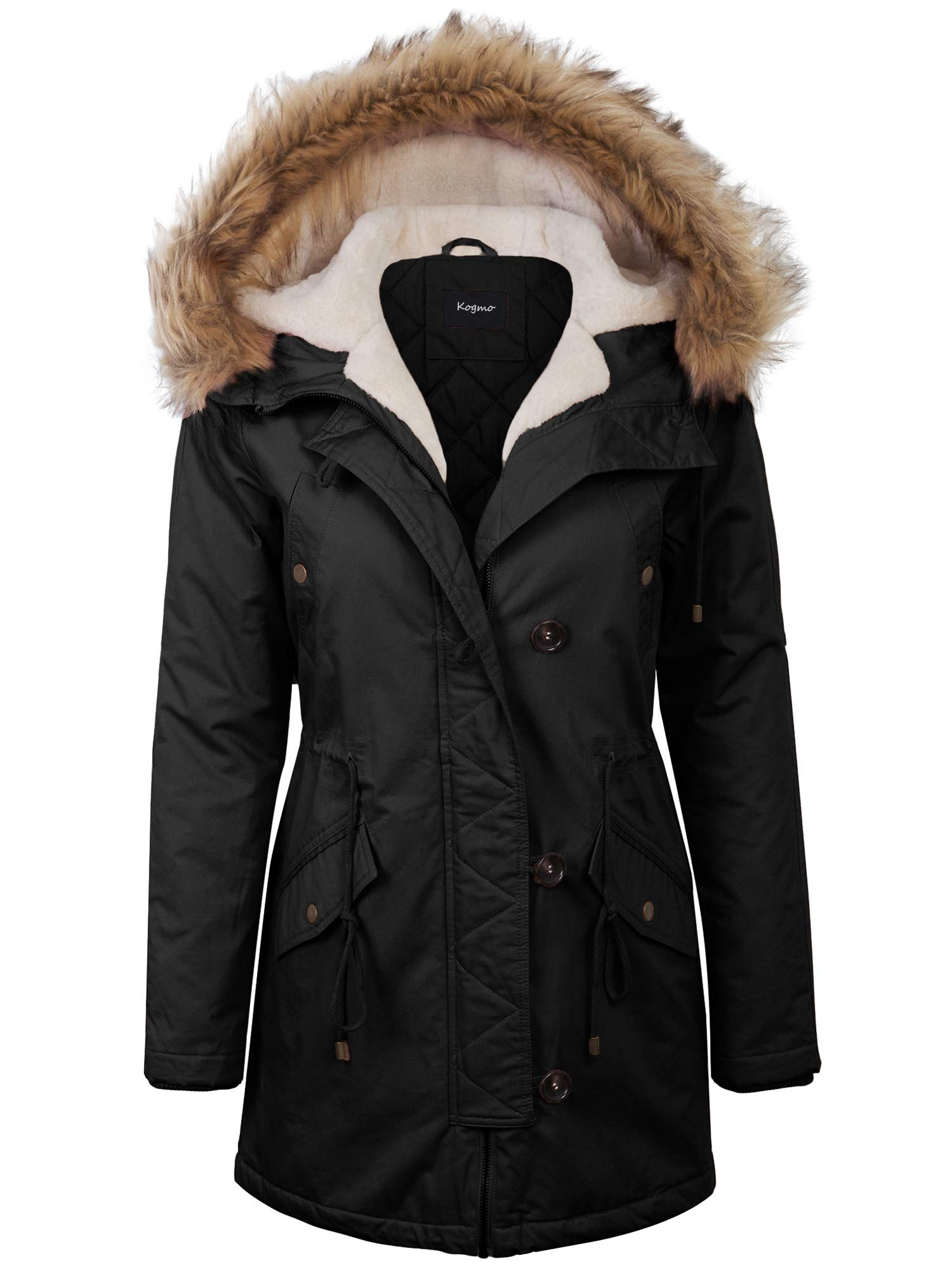 KOGMO Womens Long Anorak Coat Fur Trim Hoodie Jacket with Fuax Fur Lined-S-Black by KOGMO
