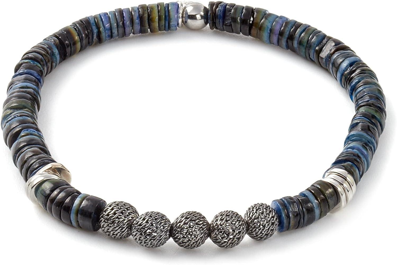 Tateossian Mens Seychelles Mesh Sterling Silver Bracelet in Blue