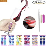 Full Water Nail Sticker with Cuticle Pusher Tool Set, VIWIEU Full Water Transfer Fake Nail Art Decals with Gel Polish Scraper Tool