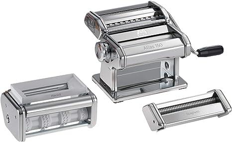 Marcato PastaSet Máquina para Pasta Manual con Accesorios Incluido, Acero Cromado, Plata, 20 X 20.7 X 15.5 Cm: Amazon.es
