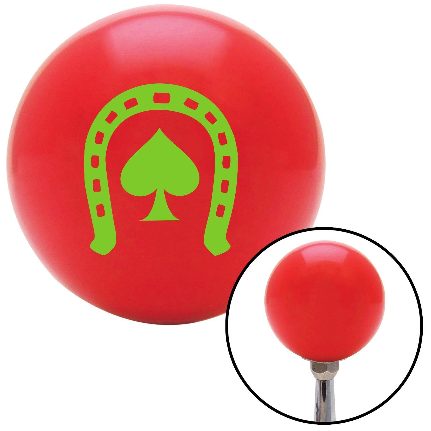 American Shifter 94902 Red Shift Knob with M16 x 1.5 Insert Green Horseshoe Over Spade